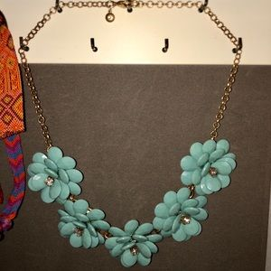 Turquoise and Gold Flower Statement Necklace